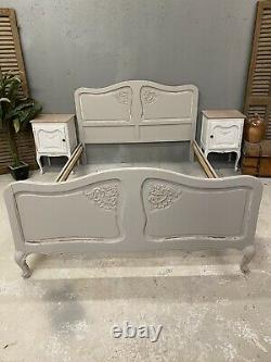 Vintage French Double bed/ French bed Painted shabby chic style