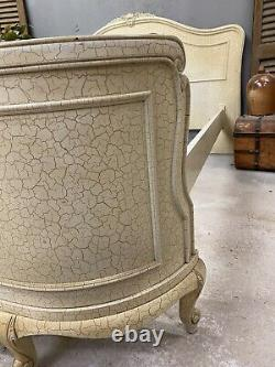 Vintage French Double bed/ Original Crackle Glaze Painted bed shabby chic style