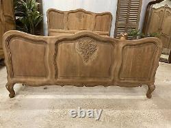 Vintage French Double size bed/ Sandblasted French bed shabby chic style