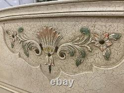 Vintage French King bed/ French bed Painted shabby chic style