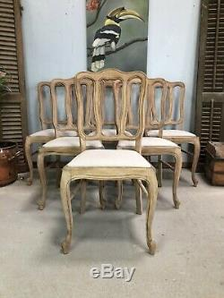 Vintage French Round Table And Chairs / Sandblasted Shabby Chic Style /Oak