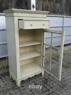 Vintage French Shabby Chic Painted Pine & Glass Cupboard Cabinet with Drawer