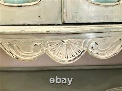 Vintage French Style Antique Shabby Chic Bow Fronted Glass Display Cabinet