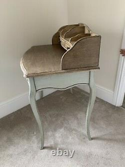 Vintage French Style Shabby Chic Duck Egg Writing Desk Or Console Table