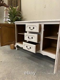 Vintage French Tv Unit / Painted Shabby Chic Style