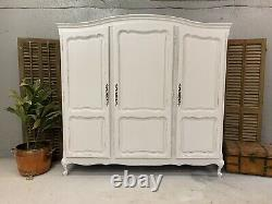 Vintage French Wardrobe/3 Door French Armoire / Painted Shabby chic style