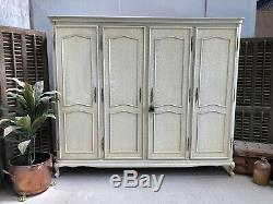 Vintage French Wardrobe / 4 Door Armoire/ Original Painted Shabby chic style