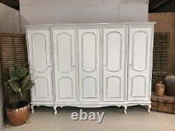 Vintage French Wardrobe/5 Door French Armoire / Painted Shabby chic style