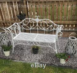 Vintage Garden Bench French Style Furniture White Metal Iron Shabby Chic Seat