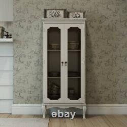 Vintage Shabby Chic Display Cabinet Stand French Fleur De Lis Living Glass Tall