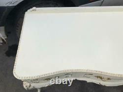 Vintage Shabby Chic French Louis Dressing Table Console Table Glass Top & Draws