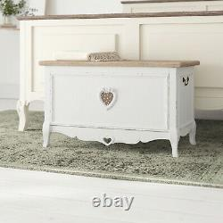 Vintage Shabby Chic Wooden Storage Trunk Chest French Blanket Box End-Of-Bed New