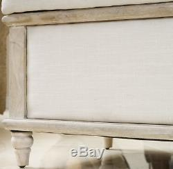 Vintage Storage Bench Shabby Chic Trunk Window Seat Ottoman White French Bedroom
