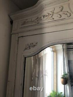 Vintage White French Armoire- Shelved Cupboard- Shabby Chic Mirrors On Doors