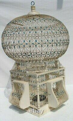 Vtg Antique 1900s FRENCH Temple WIRE & WOOD VICTORIAN SHABBY CHIC Birdcage