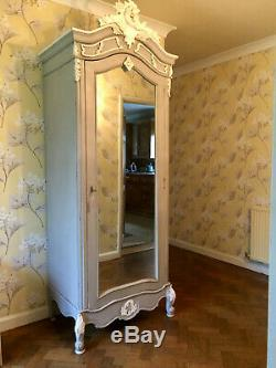 Wardrobe/armoire with mirror, Louis XIV style, shabby chic, French grey