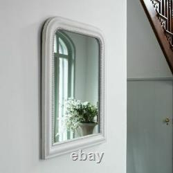 White Arch Overmantel Mirror Rustic Distressed French Cheval Beaded Shabby Chic