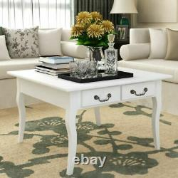 White Shabby Chic Coffee Table French Style Living Room Furniture with 4 Drawers