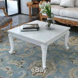 White Shabby Chic Coffee Table High Gloss French Style Living Room Furniture