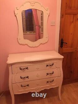 White Shabby Chic French Style Chest Of Drawers And Matching Large Mirror