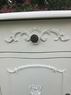 White Shabby Chic French Style Pair Of Bedside Lockers With Drawer