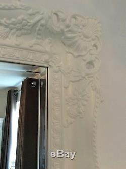 X LARGE WHITE Shabby Chic Ornate Decorative Wall Mirror FREE FAST POSTAGE